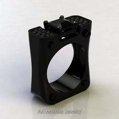 Mens Modern 14K Black Gold 3.0 Ct Emerald Cut by DesignMasters