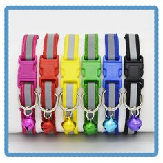 Reflective dog cat collar 2016 New Fashion style safety Plastic buckle Nylon Small Dog Collar cute puppy pet collar 6 Color
