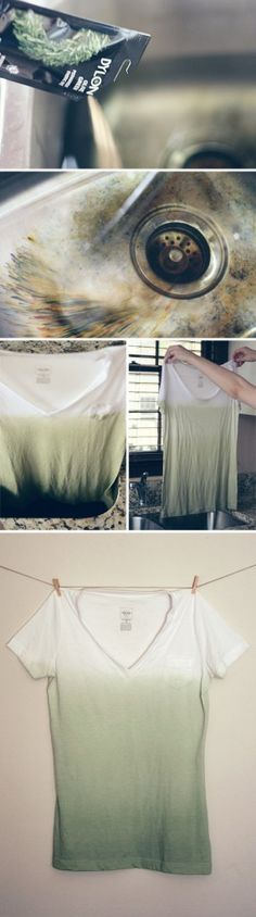 dip dye t shirt green