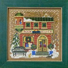 Book Seller Christmas Village Counted Cross-Stitch and Beading Kit Cross Stitch Needles, Beaded Cross Stitch, Counted Cross Stitch Kits, Cross Stitch Embroidery, Embroidery Kits, Cross Stitch Designs, Cross Stitch Patterns, Mill Hill Beads, Bead Kits