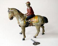 Antique Tin Litho Wind Up Jockey On Horse Toy Germany