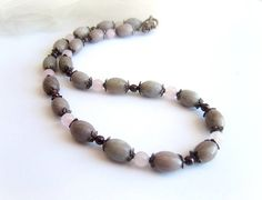 Gray pink stones necklace gemstone copper necklace gray