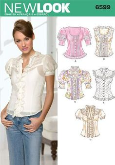 New Look Sewing Pattern 6599 Misses Tops, Size A (8-10-12-14-16-18) by New Look,