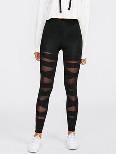 777462cac4085 Criss Cross Mesh LeggingsFor Women-romwe Mesh Leggings, Gitter, Gym Wear,  Criss