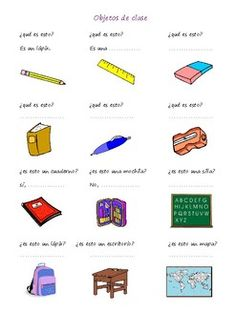 students answer questions about classroom objects - ESL worksheets Spanish Worksheets, English Worksheets For Kids, English Lessons For Kids, Kindergarten Worksheets, Preschool Assessment, Classroom Activities, Conversation Questions, Conversation Cards, Spanish Classroom