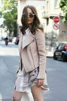 Quilted nude leather jacket perfect for spring style. #quilted #leatherjacket #spring