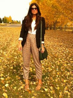Patterned pants and hunter green.