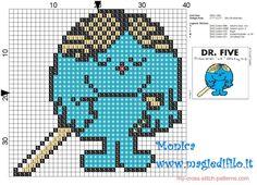 Dr.Five (Mr.Men) cross stitch pattern - free cross stitch patterns