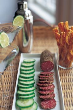 I love serving no-cook hors d'oeuvres, such as sliced spicy salami and hothouse cucumbers. They're so easy, and fun to eat!