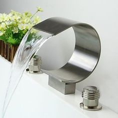 Contemporary Waterfall Brass Nickel Brushed Bathroom Sink Faucet - Home and Garden Decoration Modern Bathroom Sink, Bathroom Sink Faucets, Contemporary Bathrooms, Bathroom Fixtures, Contemporary Interior, Modern Faucets, Sink Taps, Contemporary Apartment, Hall Bathroom