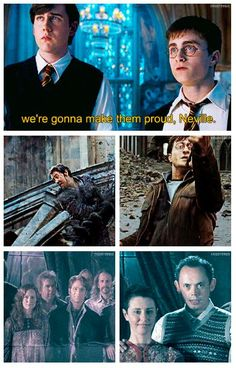 Harry and Neville are both dressed similarly to their fathers during the battle of Hogwarts. || OMG! MY HEART. IT ACHES!!