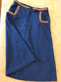 """Reminds me of something Rebecca from This is Us would wear. Vintage Denim Skirt W/Rainbow Trim Pockets 32"""" Waist Do-Little Denim 70s     Clothing, Shoes & Accessories, Vintage, Women's Vintage Clothing   eBay!"""
