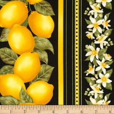 Timeless Treasures Lemon Stripe Black from From Timeless… Timeless Treasures Fabric, All White Kitchen, Quilt Material, Novelty Fabric, Shades Of Yellow, Striped Fabrics, Fabric Crafts, Accent Decor, Fabric Design