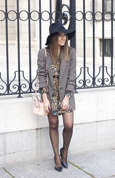 Flower dress blazer pink bag coach black hat accessories heels fashion style outfit04
