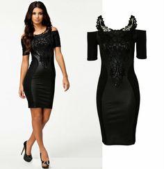 2014 Fashion Business Party Formal Lace Black Sheath Chiffon Sexy Vintage Dress Off Shoulder Bodycon Hip Vestito Free Shipping