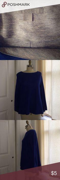 COS pullover pleat back sweatshirt Deep blue COS pullover light weight sweatshirt. Deep back pleat detail w/ high low effect. Long sleeve w/ scoop neck. Size M COS Tops Sweatshirts & Hoodies
