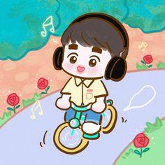 Chibi Wallpaper, Rose Wallpaper, Cartoon Wallpaper, Exo Cartoon, Exo Anime, Exo Lockscreen, Exo Fan Art, Exo Do, Kyungsoo