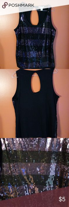 NWOT Forever Sequin Tank Soft material, with key hole back and scoop neck. The front features purple and black sequins. Forever Tops Tank Tops