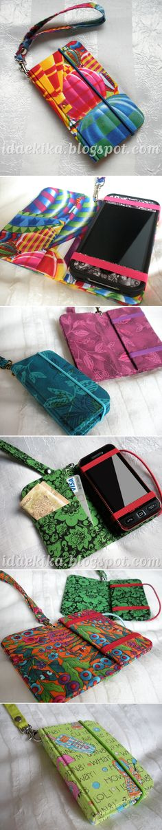 use firm interfacing. place md interfaced fabric on top, rs together, to enclose raw edges & create lining. dont forget pockets & maybe zip for change? Fabric Crafts, Sewing Crafts, Sewing Projects, Pochette Portable, Creation Couture, Handmade Bags, Purse Wallet, Cell Phone Cases, Phone Cover