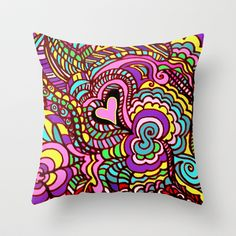 valentine LOVE POP ART  where the colors and design jump off the page Throw Pillow by RokinRonda - $20.00