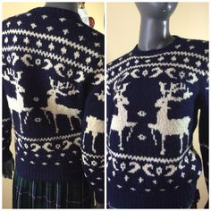 Vintage 80s hand knit novelty sweater by 3GenerationCuration  #vintage #thrift #fashion #80s #sweater #xmas #winter #reindeer #wool #hipster #rad