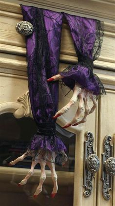 Old Hag Skeleton Hands. Skeletal fingers manicured in crimson are cuffed in purple satin under delicate black lace. Dangle from drawers and doors as bawdy Halloween decor. Comes as a set of two. Product Photos. | eBay!