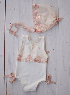 Newborn Photo Prop Girl Romper Lace Romper Bonnet by HazyMoonProps
