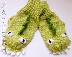 Knitting Pattern - Dinosaur Dragon Mittens, Animal Mittens, Character Mittens…