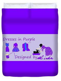 Queen Size Duvet Cover of 'High Style Fashion, Dresses in Purple' by Sumi e Master Linda Velasquez.
