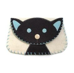 wool applique | Wool Felt Applique Black Cat Canvas Snap Wallet | Shop | Kaboodle