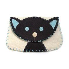 wool applique   Wool Felt Applique Black Cat Canvas Snap Wallet   Shop   Kaboodle