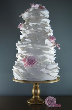 Ruffles and roses wedding cake from the Handmade Cake Company