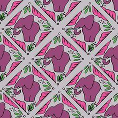 Purple Elephant Tile Pattern