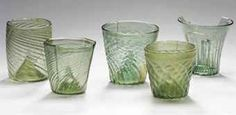FIVE MEDIEVAL WALDGLAS BEAKERS