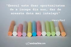 """Esecul este doar oportunitatea de a incepe din nou, dar de aceasta data mai intelept"" - Henry Ford ...#citate #sendmachine Henry Ford, Email Marketing, Inspiration, Biblical Inspiration, Inspirational, Inhalation"