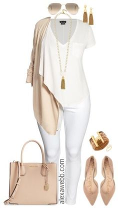 Don't stow away your white jeans just yet. Create a plus size fall transition outfit with just a simple tee and layered neutral cardigan. Add suede nude flats or an ankle bootie to complete the look. Plus Size Fall Transition Outfit Shop the Look Sunglas Look Plus Size, Plus Size Casual, Plus Size White Outfit, Plus Size Style, Casual Plus Size Outfits, Plus Size Chic, Plus Size Herbst, Look Fashion, Womens Fashion