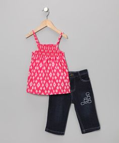 Take a look at this Pink Diamond Tank & Capri Jeans - Infant & Toddler by Coney Island Kids on #zulily today!