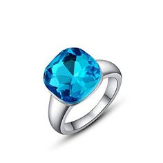 * Penny Deals * - Winter.Z Noble and Elegant Ladies Jewelry Popular Explosion Models Austria Crystal Platinum Blue Ring Wedding -- To view further for this item, visit the image link.