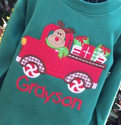 Boys  Appliqued Christmas Truck on Green LONGSLEEVES by lilshabebe