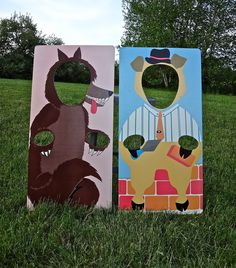 Awesome Vintage look 3 Little Pigs & Big Bad Wolf CUTOUTS. $75.00, via Etsy. A little pricey, but great for inspiration.