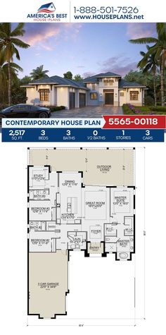 Fall in love with this dazzling Contemporary home design. Plan 5565-00118 details 2,517 sq. ft., 3 bedrooms, 3 bathrooms, a kitchen island, an open floor plan and a study. #architecture #houseplans #housedesign #homedesign #homedesigns #architecturalplans #newconstruction #floorplans #dreamhome #dreamhouseplans #abhouseplans #besthouseplans #newhome #newhouse #homesweethome #buildingahome #buildahome #residentialplans #residentialhome House Layout Plans, House Layouts, Contemporary House Plans, Contemporary Bathrooms, Best House Plans, Dream House Plans, Floor Plan Drawing, Floor Framing, Flat Roof