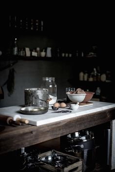 An atmospheric cook's kitchen