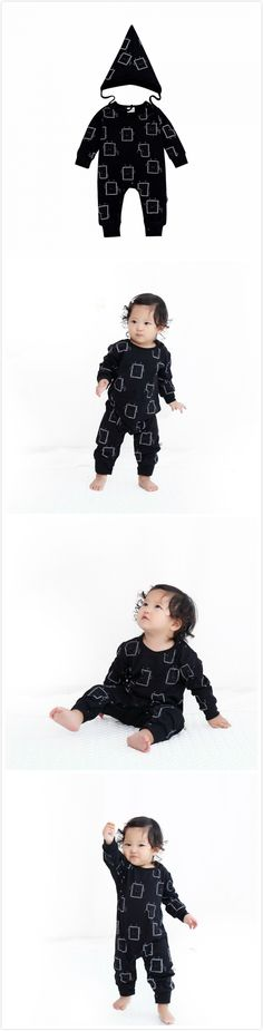 Cute Toddler Baby Super Comfy Clothes Playsuit & Pointy Hat Set Black