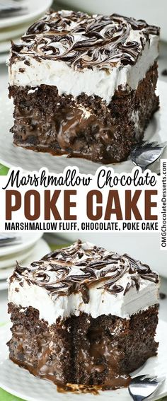 Marshmallow Chocolate Poke Cake is decadent chocolate cake infused with sweetened condensed milk chocolate ganache mixture, covered with marshmallow whipped cream and more chocolate ganache swirled on top. #marshmallow #chocolate #poke #cake Mini Desserts, Easy Desserts, Delicious Desserts, Decadent Chocolate Cake, Chocolate Desserts, Chocolate Ganache, Chocolate Lovers, Oreo Dessert, Cupcakes