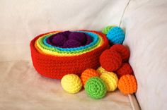 Crocheted Rainbow Sorting/Stacking