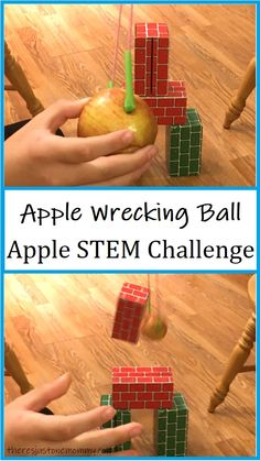 Can you build a wrecking ball using an apple? This simple STEM challenge is perfect for fall and can be modified for all ages. #STEMactivities #STEMchallenge #STEMforkids Kids Learning Activities, Stem Activities, Stem For Kids, Stem Challenges, Back To School, Have Fun, Homeschool, Apple, Fall
