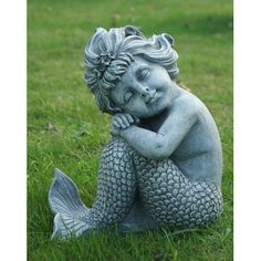 Features:  -Finish:Gray.  -Composition: Polyresin.  -Indoor and outdoor use.  Product Type: -Statue.  Color: -Gray.  Style (Old): -Vintage.  Material: -Resin/Plastic.  Theme: -Angel. Dimensions:  Ove Mermaid Statue, Mermaid Art, Mermaid Lagoon, Sculpture Art, Garden Sculpture, Mermaid Sculpture, Mermaid Wall Decor, Mermaid Bathroom, Angel Garden Statues