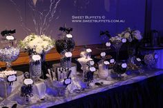 Black and Silver Candy/Lolly buffet for Corporate Gala Event. Styled by Sweet Buffets. www.sweetbuffets.com.au