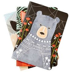Let these friendly-faced creatures inspire you next big idea! Printed with soy based ink, this delightfully illustrated bundle includes three lightweight journals perfect for toting to and from appointments. Printed with soy based ink. 80 pages& x Woodland Creatures, Hostess Gifts, Stationery, Ink, Make It Yourself, Studio, Holiday, Christmas, Illustration