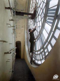 A rare look behind the clockface of the Big Ben, ca. 1920.